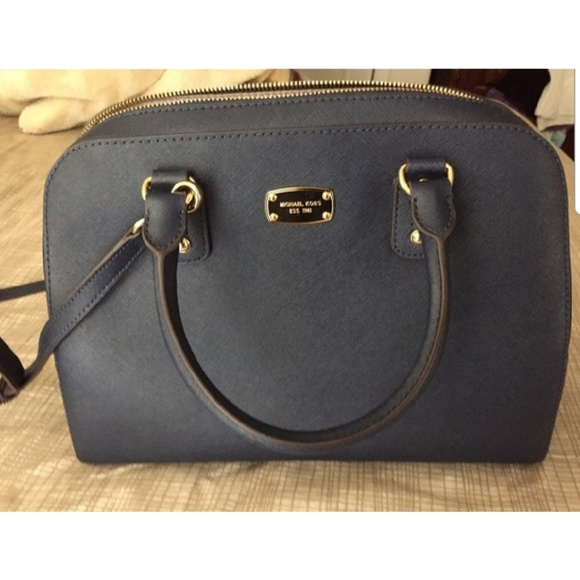 michael kors bags large navy saffiano leather satchel poshmark rh poshmark com